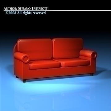 red sofa 3d model 3ds dxf c4d obj 88171