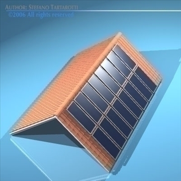 roof with solar panels 3d model 3ds dxf obj 81060