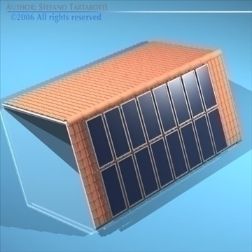 roof with solar panels 3d model 3ds dxf obj 81063