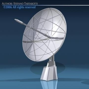 sat dish 3d model 3ds dxf obj 78861