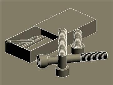 screws (bolts) din 912 and matchbox 3d model dwg 108253
