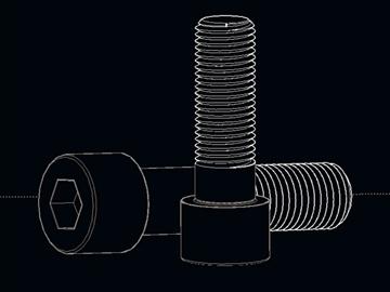 screws bolts din 912 autocad 2007 2010 3d model dwg 108249