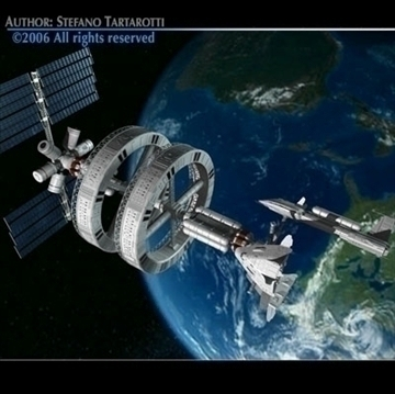 space station na may spaceships 3d modelo 3ds dxf c4d obj 84335