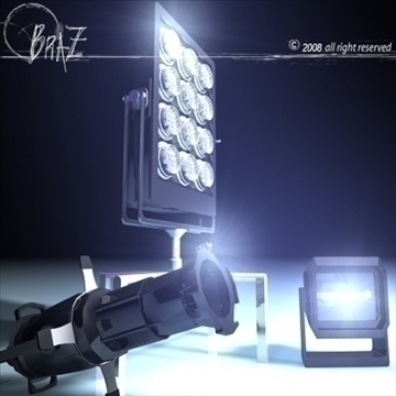 stage light set 2 3d model 3ds dxf c4d obj 88611