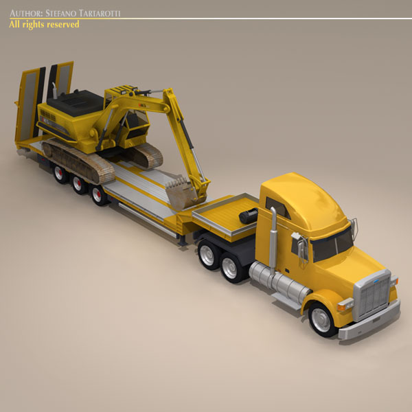 step frame trailer truck and excavator 3d model 3ds dxf c4d obj 113450