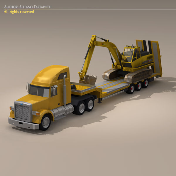step frame trailer truck and excavator 3d model 3ds dxf c4d obj 113451