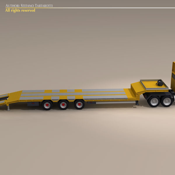 step frame trailer truck and excavator 3d model 3ds dxf c4d obj 113453