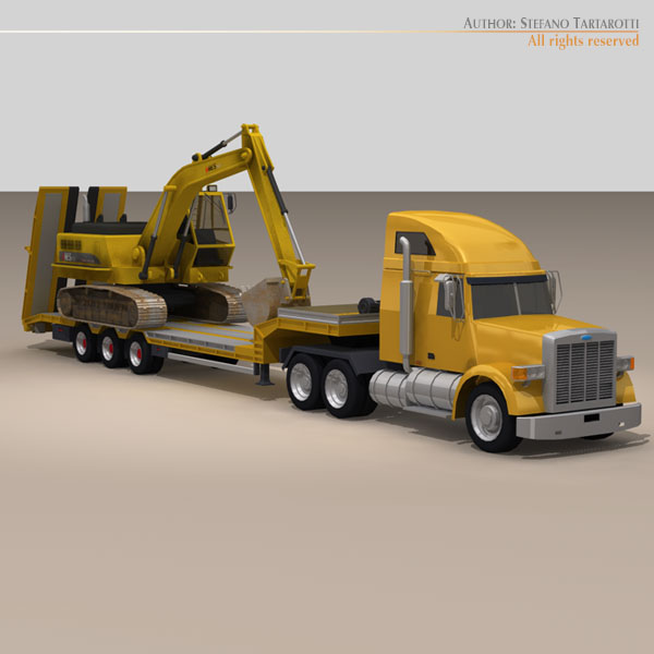 step frame trailer truck and excavator 3d model 3ds dxf c4d obj 113454