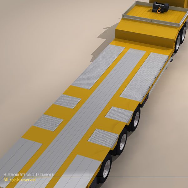 step frame trailer truck and excavator 3d model 3ds dxf c4d obj 113455
