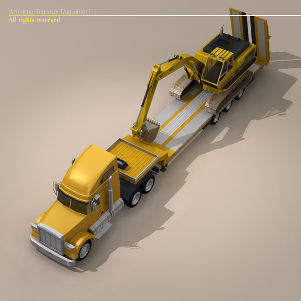 step frame trailer truck and excavator 3d model 3ds dxf c4d obj 113456