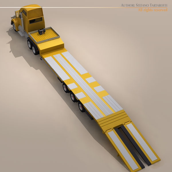 step frame trailer truck and excavator 3d model 3ds dxf c4d obj 113457