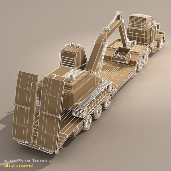 step frame trailer truck and excavator 3d model 3ds dxf c4d obj 113458