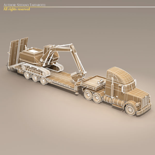 step frame trailer truck and excavator 3d model 3ds dxf c4d obj 113459