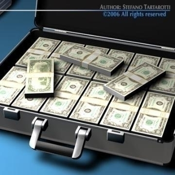 suitcase with dollars 3d model 3ds dxf c4d obj 78013