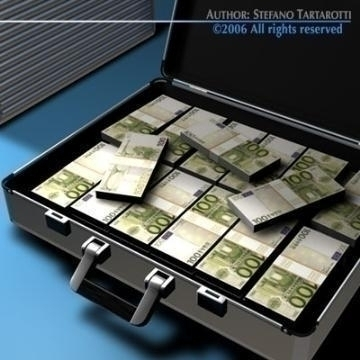 suitcase with euro 3d model 3ds c4d obj 78018