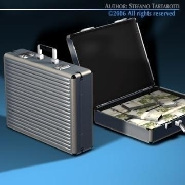 suitcase with euro 3d model 3ds c4d obj 78021