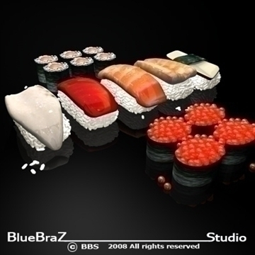 sushi 3d model 3ds dxf c4d obj 89441
