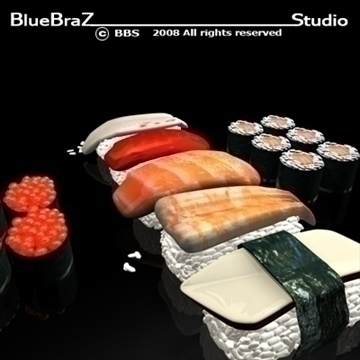 sushi 3d model 3ds dxf c4d obj 89443