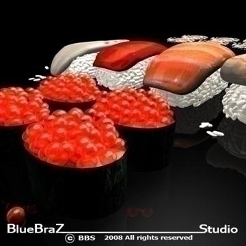sushi 3d model 3ds dxf c4d obj 89445