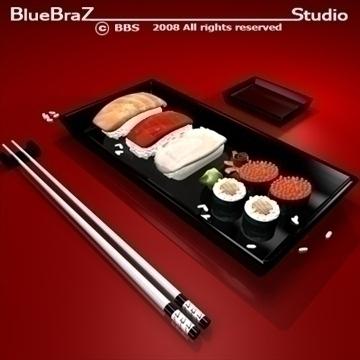 sushi plate 3d model 3ds dxf c4d obj 89448
