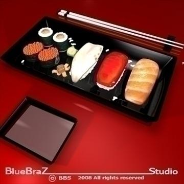 sushi plate 3d model 3ds dxf c4d obj 89450