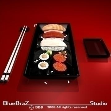 sushi plate 3d model 3ds dxf c4d obj 89451