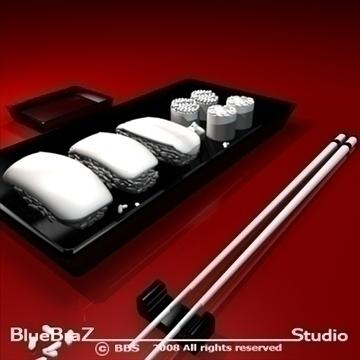sushi plate 3d model 3ds dxf c4d obj 89453
