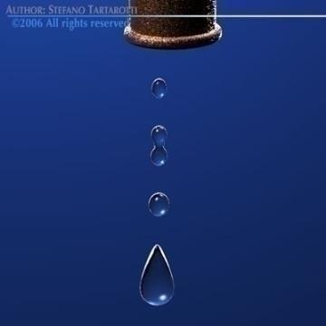 tap with water drops 3d model 3ds dxf c4d obj 77860