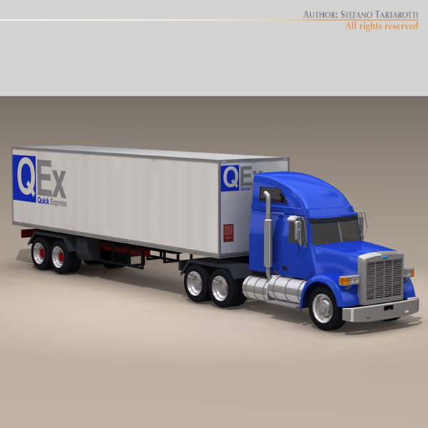 us freight truck 3d model 3ds dxf c4d obj 112911
