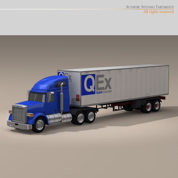 us freight truck 3d model 3ds dxf c4d obj 112912