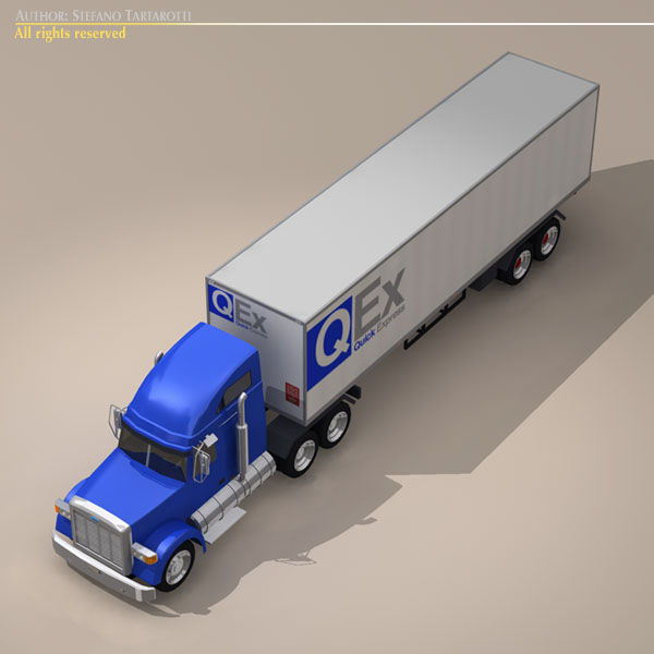 us freight truck 3d model 3ds dxf c4d obj 112913