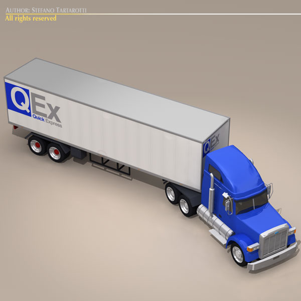 us freight truck 3d model 3ds dxf c4d obj 112914