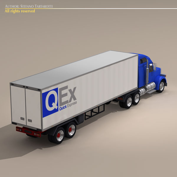 us freight truck 3d model 3ds dxf c4d obj 112915