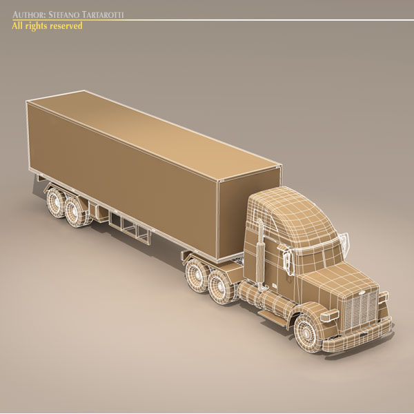 us freight truck 3d model 3ds dxf c4d obj 112917