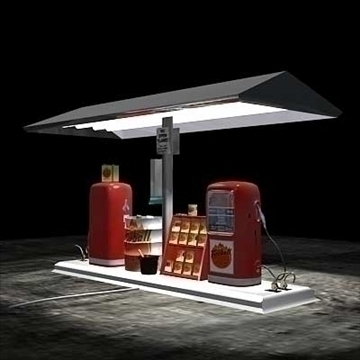 vintage gas pump island circa 1950s or 60s 3d model lwo 88866