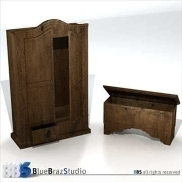 wardrobe and chest 3d model 3ds dxf c4d obj 106905