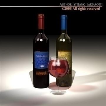wine bottles 3d model 3ds dxf c4d obj 92244