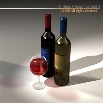 wine bottles 3d model 3ds dxf c4d obj 92245