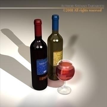 wine bottles 3d model 3ds dxf c4d obj 92246