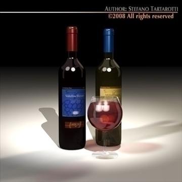 wine bottles 3d model 3ds dxf c4d obj 92247