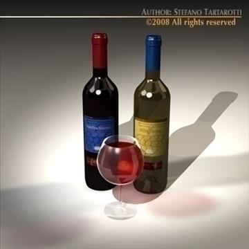 wine bottles 3d model 3ds dxf c4d obj 92248