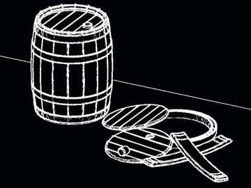 wooden barrels of 25 liters 3d model dwg 108181