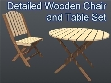 wooden chair and table set 001 3d model 3ds max ma mb 102192