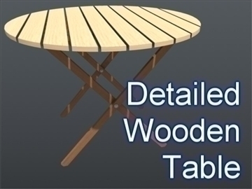 wooden circular table 001 3d model 3ds max ma mb 102201