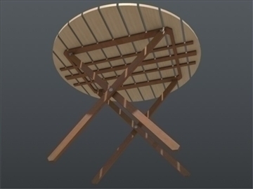 wooden circular table 001 3d model 3ds max ma mb 102202