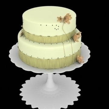 yellow cake with ribbons and flowers 3d model lwo other 98365