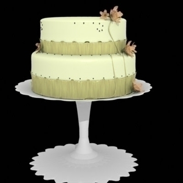 yellow cake with ribbons and flowers 3d model lwo other 98366