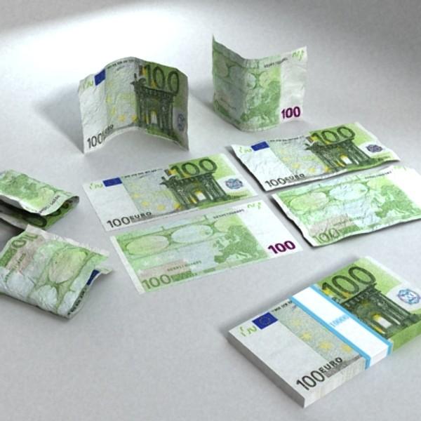100 евро цаасан мөнгө 3d загвар 3ds max obj 129430
