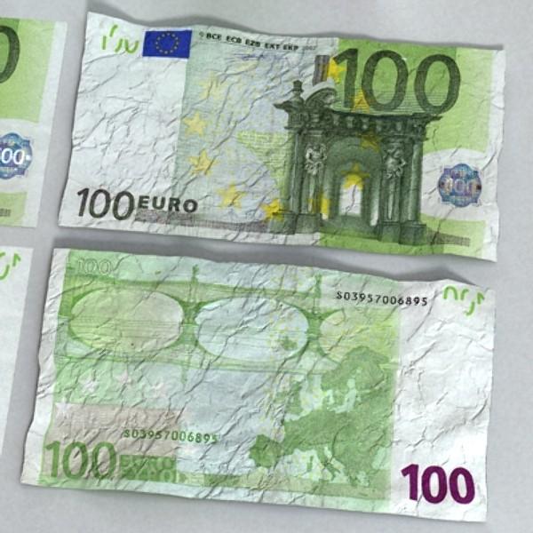 100 евро цаасан мөнгө 3d загвар 3ds max obj 129432
