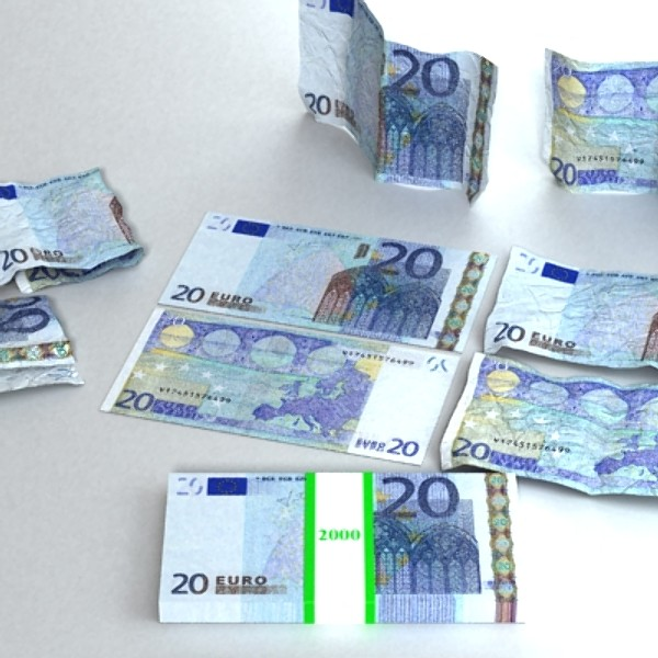 20 euro paper money 3d model 3ds max obj 129413